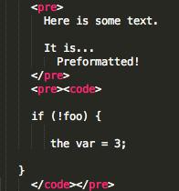 pre code code